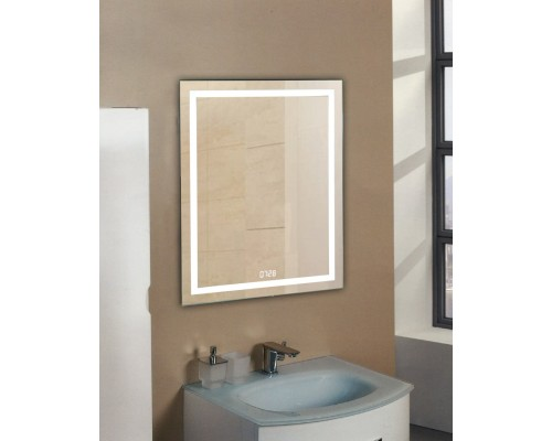 Зеркало в ванную с подсветкой и часами Лючия